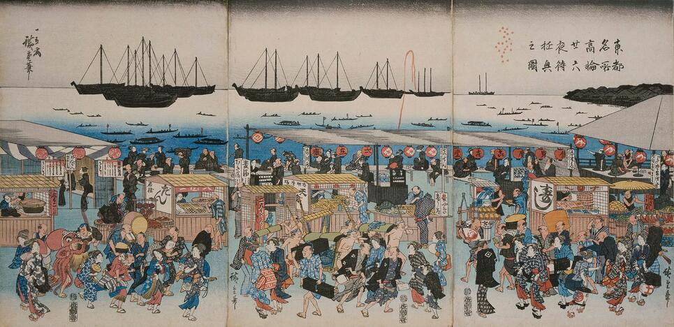 Amusements-while-waiting-for-the-moon-on-the-night-of-the-twenty-sixth-in-takanawa-a-famous-place-in-the-eastern-capital-utagawa-hiroshige-kanagawa-prefectural-museum-of-history-archives